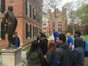 Students from the AVID program listen as their tour guide gives them background on Nathan Hale, a famous Yale alumnus.